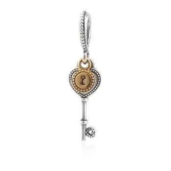 Trang sức Pandora Bạc 925 và Vàng 14K Heart-shaped Key Dangle Charm chính hãng sale giá rẻ Hà nội TPHCM