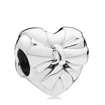 Trang sức Pandora Bạc 925 Brilliant Heart Bow Charm chính hãng sale giá rẻ Hà nội TPHCM