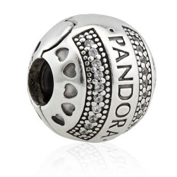 Trang sức Pandora Bạc 925 Logo Round Clip Charm chính hãng sale giá rẻ Hà nội TPHCM