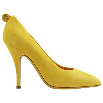 Giày Salvatore Ferragamo nữ Yellow Suede Gancini Pumps chính hãng