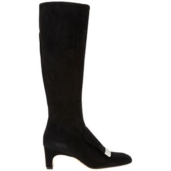 Giày Sergio Rossi nữ Sr 1 màu đen 60 Sq Knee Boot Sr1 Sue chính hãng sale giá rẻ