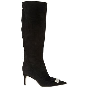 Giày Sergio Rossi nữ Suede Sr 1 màu đen 75 pt Knee Boots chính hãng