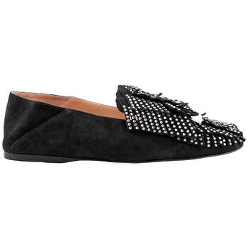 Giày Sergio Rossi nữ Crystal Embellished Fringed Loafers chính hãng