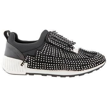Giày Sergio Rossi màu đen Fringe Crystal Embellished Sneakers chính hãng sale giá rẻ