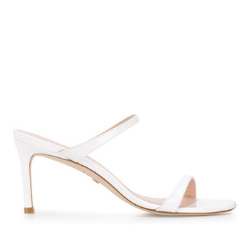 Giày Stuart Weitzman nữ Aleena 75 màu trắng Patent Leather Sandals chính hãng