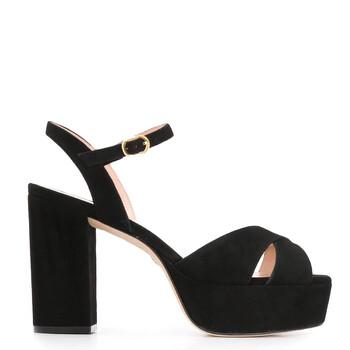 Giày Stuart Weitzman nữ Ivona 100 màu đen Suede Sandals chính hãng sale giá rẻ