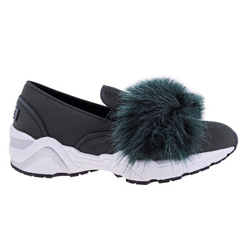 suecomma bonnie ladies dark green sneaker w eco fur top di4dx18095 green