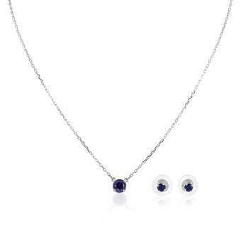 Trang sức Swarovski Nữ Rhodium mạ Blue Attract Round Set chính hãng sale giá rẻ Hà nội TPHCM