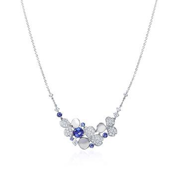 Trang sức Tiffany & Co. & CO. Nữ Tiffany Paper Flowers Kim cương và Tanzanite Cluster Dây chuyền (vòng cổ) chính hãng sale giá rẻ Hà nội TPHCM