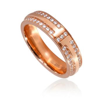 Trang sức Tiffany & Co. Nữ Vàng hồng 18K Tiffany T Narrow Pave Kim cương Nhẫn
