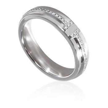 Trang sức Tiffany & Co. Nữ Kim cương Vàng trắng 18K Tiffany T Two Narrow Nhẫn chính hãng sale giá rẻ Hà nội TPHCM