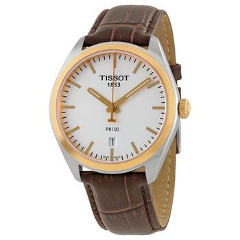Đồng hồ Tissot PR100 mặt số màu bạc dây da nâu nam T1014102603100 chính hãng sale giá rẻ nhất ở tại Hà nội TPHCM