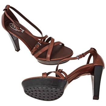 Giày Tod's nữ Leather Sandals in Cocoa chính hãng