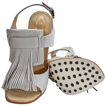 Giày Tod's nữ Fringed Leather Heels in Medium màu xám chính hãng