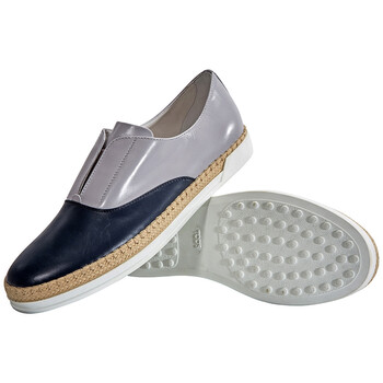 Giày Tod's nữ Espadrilles Leather Slip On Shoes in Dark Galaxy / Medium Cement chính hãng sale giá rẻ