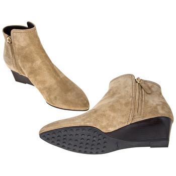 Giày Tod's nữ Suede Wedge Bootie màu sáng Tobacco chính hãng sale giá rẻ