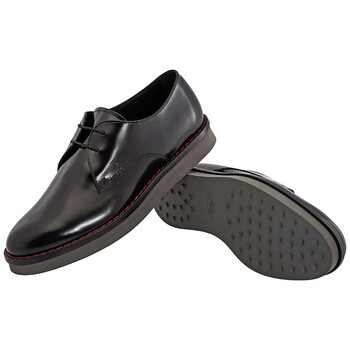 Giày Tod's nữ Derby Lace-Up Leather Shoes màu đen chính hãng