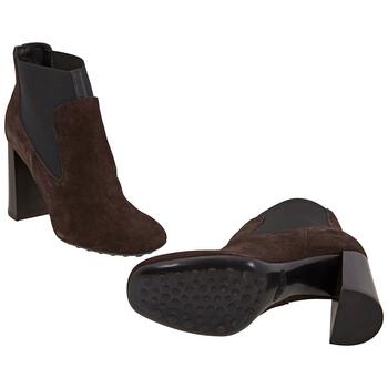 Giày Tod's nữ Chunky Heel Ankle Boots in Dark Brown / màu đen chính hãng