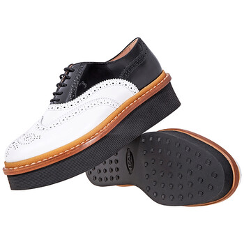Giày Tod's nữ Brogue Shoes màu trắng / màu đen chính hãng