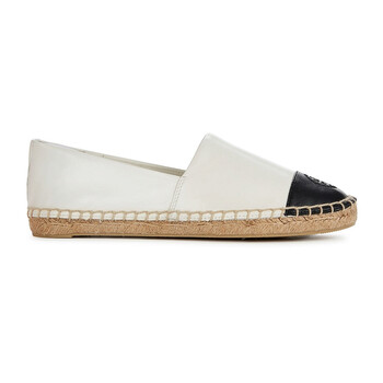 tory burch ladies ivory black color block leather espadrille 18783 106