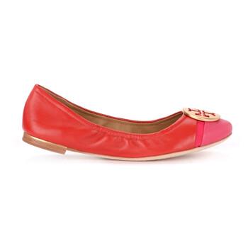 Giày Tory Burch nữ Minnie Cap-Toe Ballet Flats màu đỏ / Azalea chính hãng