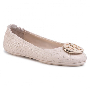 Giày Tory Burch New Cream / Gold Quilted Leather Minnie Travel Ballet Flats chính hãng