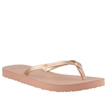 Giày Tory Burch Rose Gold Metallic Leather Flip Flop chính hãng