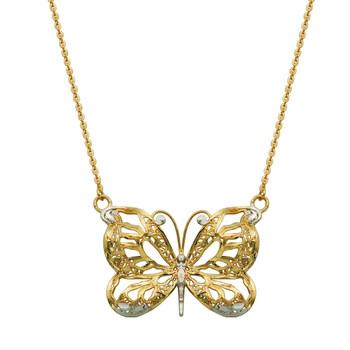 Trang sức Treesse Vàng 10K Rhodium Plating Distressed Butterfly Dây chuyền (vòng cổ)