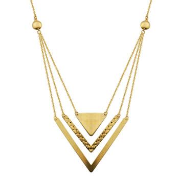 Trang sức Treesse Vàng 10K Triple Row Triangle Arrow Dây chuyền (vòng cổ)