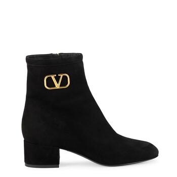 Giày Valentino Garavani nữ VLogo màu đen Suede Ankle Boots chính hãng sale giá rẻ