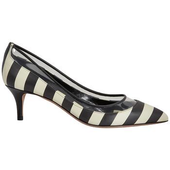 Giày Valentino Garavani nữ Middle Pump Bow màu đen màu trắng Pump 5.5cm Striped Heels chính hãng