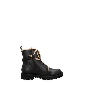 Giày Valentino Garavani VLOGO nữ màu đen Shearling Combat Boots 35mm chính hãng
