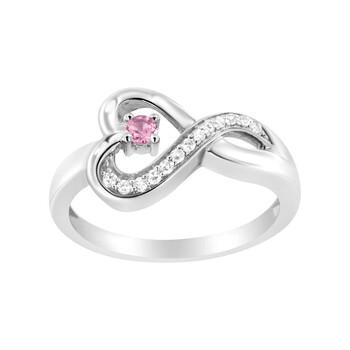 Trang sức Haus Of Brilliance Bạc 925 Kim cương Accent và Created Pink Sapphire Halo Heart Promise Nhẫn (H-I Color
